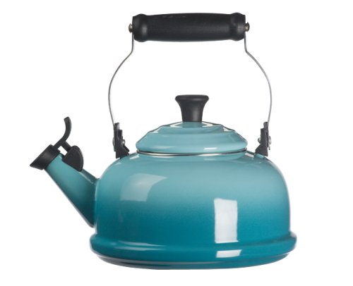 Le Creuset Q3101-17 Enamel-on-Steel Whistling 1-4/5-Quart Teakettle, Caribbean,