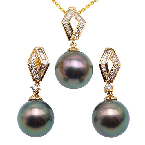 JYX 18K Yellow Gold 10.5-11mm Peacock-Green Round Tahitian Cultured Pearl Pendant Necklace and Earrings Jewelry Set Dotted with Diamonds