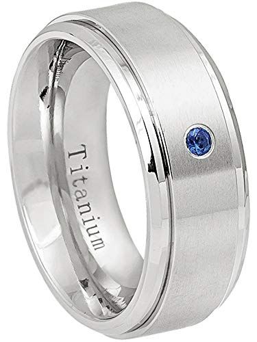 0.07ct Blue Sapphire Solitaire Titanium Ring - September Birthstone Ring - 8MM Comfort Fit Brushed Center Stepped Edge Titanium Wedding Band - 15