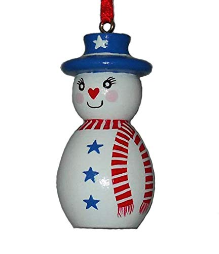 - Patriotic American Snowman Christmas Ornament