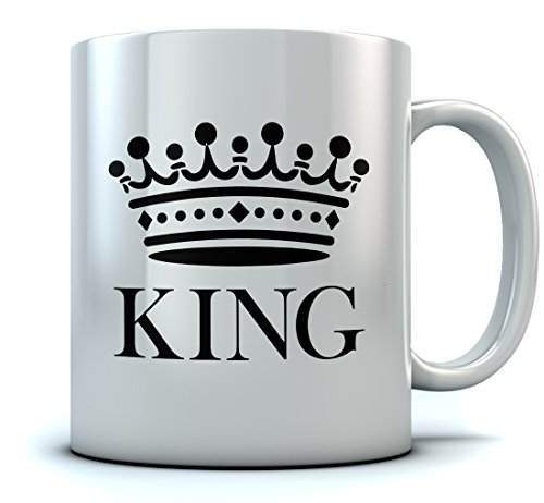 KING Crown Coffee Mug Valentine's Day Gift/Wedding Gift/Couples Gift Tea Mug 15 Oz. White