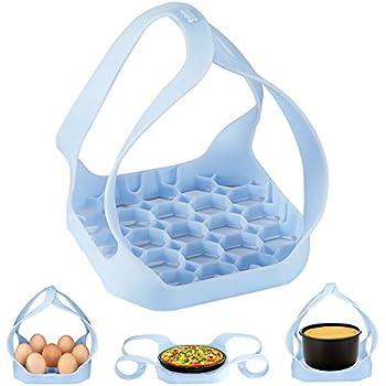 Pressure Cooker Sling, BJT Instant Pot Accessories for 6/ 8Qt, Silicone Bakeware Sling, Egg Rack Anti-scalding Bakeware Lifter Steamer Rack (Blue)