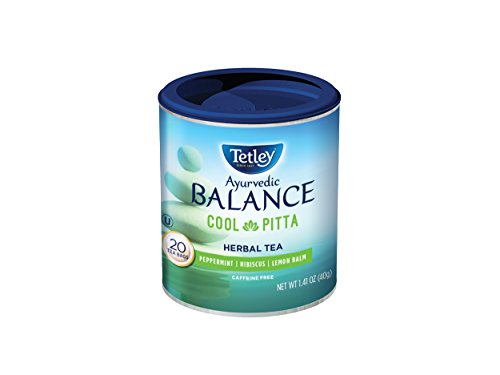 Tetley Ayurvedic Balance Cool-Pitta Caffeine Free Herbal Tea with Peppermint, Hibiscus and Lemon Balm, 20 Count (Pack of 6)