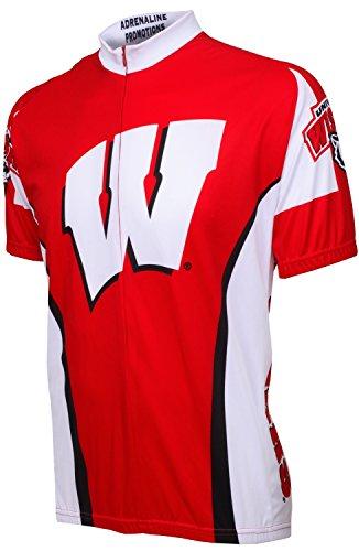 University Cycling Jersey - Adrenaline Promotions NCAA Wisconsin University Cycling Jersey, 3X-Large, Red/White