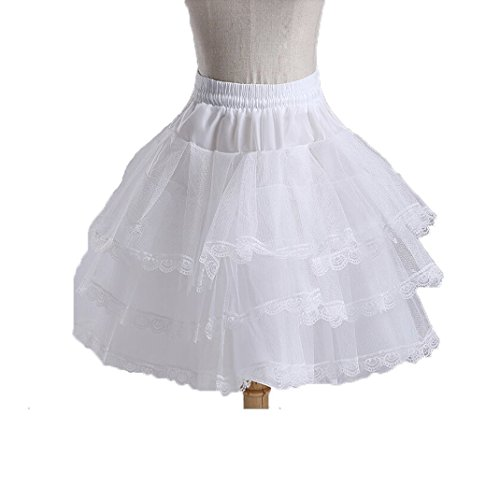 Dannifore Girl's White Short Crinoline Petticoats Slips Underskirt for Wedding Party Style1 ()