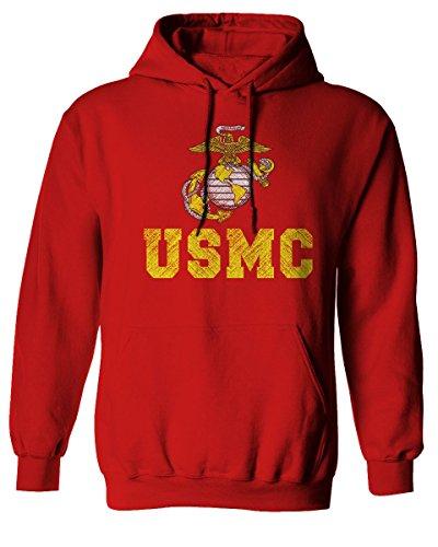 Marines Logo Sweatshirt (Marine Corp USMC Big Logo United States Of America USA American Soldier Hoodie (Red, Small))