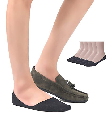 Leotruny 5-Pairs Mens Non Slip Low Cut Liners Grip Cotton Large No Show Socks