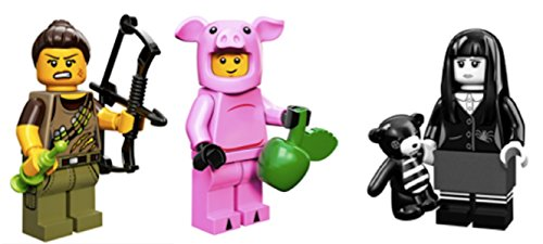 Lego Guy Costumes (Dino Hunter, Piggy Guy, Spooky Girl: Lego Collectible Minifigures Series 12 Custom Bundle)