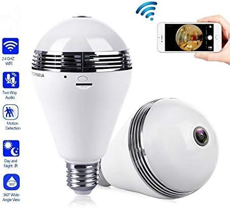 HD 960P 1.3MP E27 360°Panoramic Fisheye CCTV Security Bulb Camera Remote Monitor
