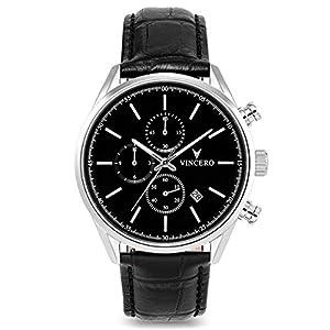 Vincero Luxury Men's Chrono S Wrist Watch - Top Grain Italian Leather Watch Band - 40mm Chronograph Watch - Japanese Quartz Movement