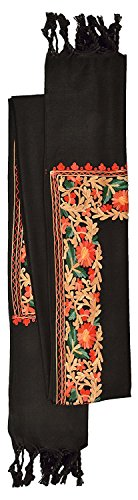 Kashmiri Women's Embroidered Shawl/Stole Wrap (Black , 28 inch x 80 inch) Made in India (India Made In Scarf)