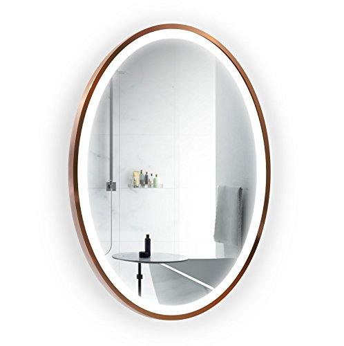 LED 24 Inch x 36 Inch Lighted Oval Satin Copper Frame Mirror