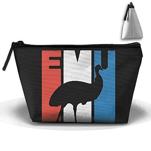 Retro Emu Silhouette Large Capacity Storage Bag Makeup Package Trapezoidal Portable Portable Wallet ()