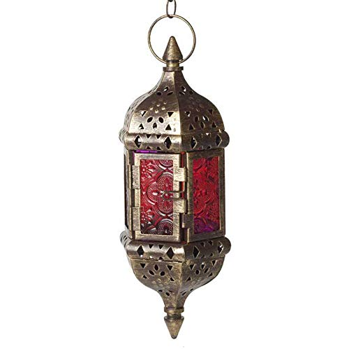 HUAHOO 1 pc Moroccan Style Candle Lantern Hanging Candle Lantern Mystical Decorative Metal Glass Candle Lantern Light Contain 40cm Chain(Brown)