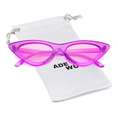 ADEWU Cobain de estilo vintage Transparente 1 ojo Gafas Gafas Marco de retro de Púrpura mujeres Lente para sol sol gafas Púrpura protección niñas de Kurt de gato q7qrRwI