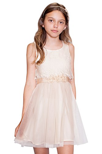 Hannah Banana Big Girls Embellished Floral Lace Dresses (Many Options) 7-16 (16, Gold (Fancy Dress Banana)