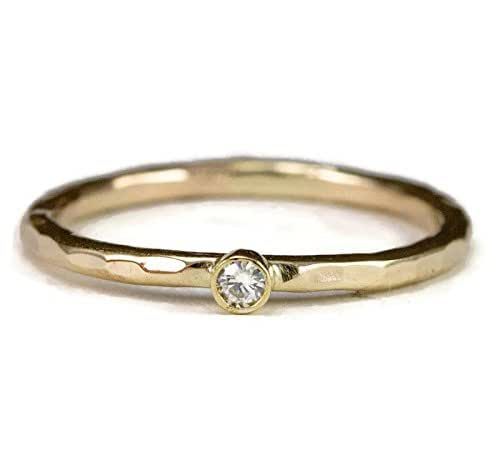 Amazon.com: Forever One Moissanite Ring, Solid 14k Gold, Tiny ...