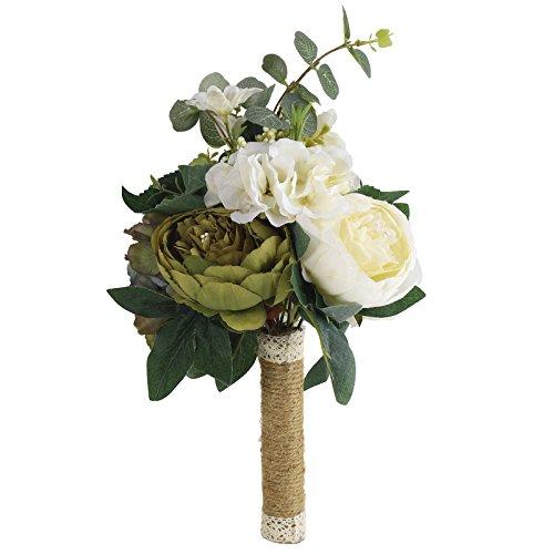 Wedding Bouquet Wildflower (Zebratown 9'' Peony Bridal Bridesmaid Bouquets Artificial Rose Silk Flowers Bouquet Home Wedding Decoration (Beige))