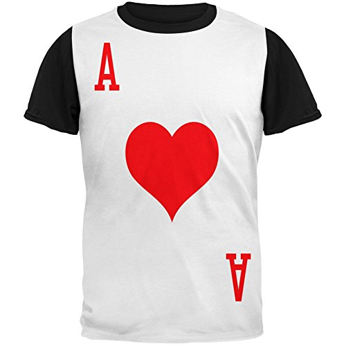 Halloween Ace of Hearts Card Soldier Costume Adult Black Back T-Shirt - Large
