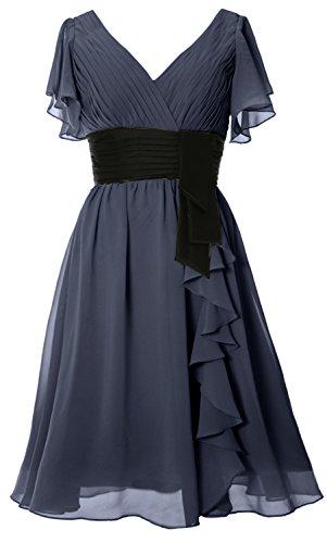 MACloth Elegant Short Sleeve Mother of Bride Dress V Neck Cocktail Formal Gown Steel Blue