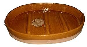 Alfarería Pereruela Siglo XVI Asador Ovalado con estrias de Barro refractario auténtico, Miel, 60 cm