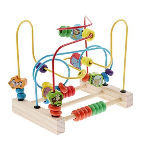 D DOLITY 全2色 子供用 木製 知育玩具 ビーズ 智力 迷宮 迷路遊び 知能 おもちゃ 空間認識 知育ゲーム - 動物