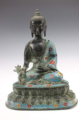 Cloisonne Medicine Buddha Figure in Bronze (32 cm) Tibet/China Statue - Asien Lifestyle from Asien Lifestyle