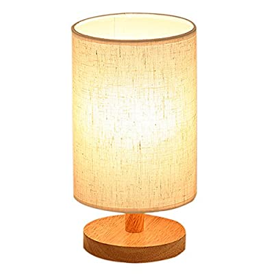 Wood Table Lamp, HQOON Bedside Table Lamps for Bedroom, Living Room,LED Night Stand Lights with Fabric Linen Shades,Modern Japanese Square Desk Lamp, Warm White Lighting Bulb E27 (Included)