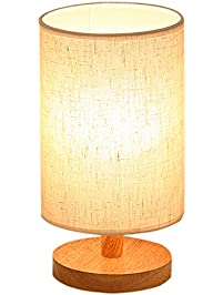 Wood Table Lamp, HQOON Bedside Table Lamps For Bedroom, Living Room,LED  Night