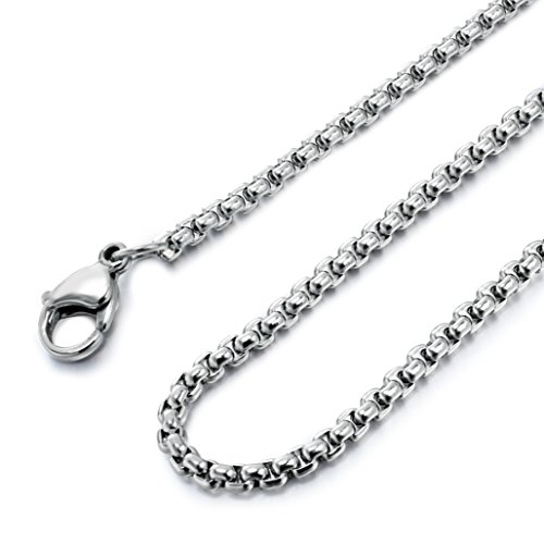 (Besteel Womens Mens Stainless Steel Rolo Cable Wheat Chain Link Necklace)