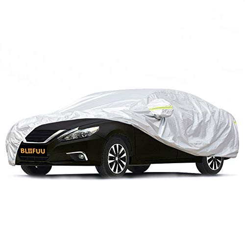 BLIIFUU Sedan Car Cover UV Protection Car Cover for Outdoor Indoor Waterproof/Windproof/Snowproof, Full Size Breathable Cover Custom Fit Sedan (185″ L x 70″ W x 60″ H)