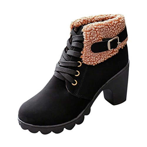 OverDose Frauen Gürtel Gürtelschnalle Damen Faux Stiefel Stiefeletten High Heels Martin Schuhe Winter Lace-up Martin Boots Schwarz