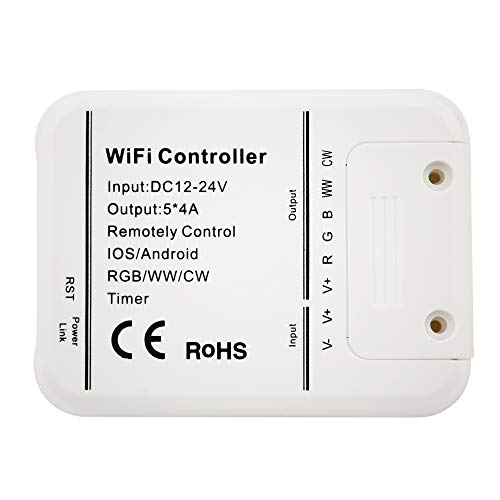 (LEDENET Smart WiFi LED Controller 5 Channels Control 4A5CH CW/WW RGB RGBW RGBWW LED light, Timer Music Group Sync Controller)