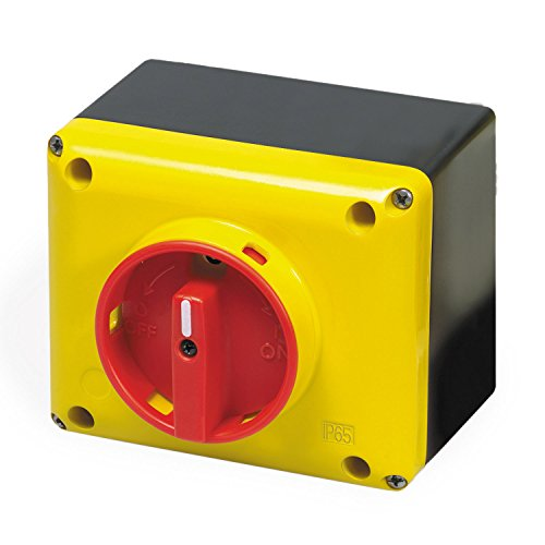 Switch Rotary Disconnect - ASI SQ025003BC10 Enclosed Rotary Disconnect Switch, Yellow/Red