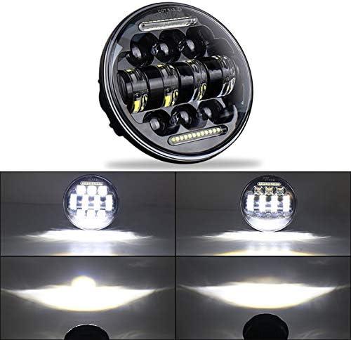 Nrpfell 1 Pi/èce 50W 5.75 Pouce Moto Modifi/é LED Phare Rond Ange Oeil Off-Road Driving Light Modifi/é Phare Phares