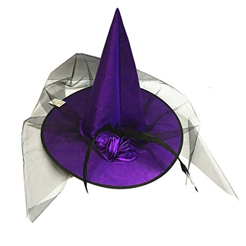 JIAJU Women's Red Deluxe Witch Hat Costume Accessory Feathers and Veil Adults Costume Dress up Hats (Purple)