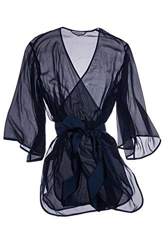 Dear Bowie Kimono Riley Navy Sheer Silk