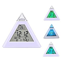 fanmaosdf Pyramid LED Alarm Clock / 7 Color Changing Digital Desk Clock/Natural Sound Thermometer Calendar Clock/Creative Triangle Digital Display Gift for Kids Friend