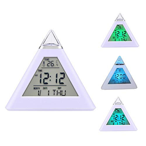 (fanmaosdf Pyramid LED Alarm Clock / 7 Color Changing Digital Desk Clock/Natural Sound Thermometer Calendar Clock/Creative Triangle Digital Display Gift for Kids Friend )