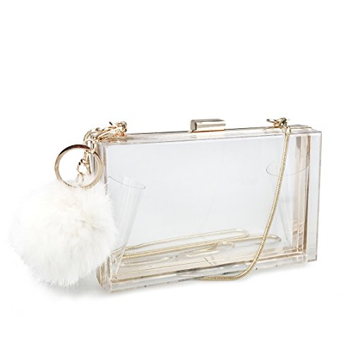 Acrylic Square Case Evening Clutch Womens Charm Chain Cross-Body Bag Purse (Clear) - Chic Handbag Charm