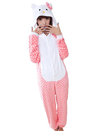 OXKING Animal Cosplay Costume Lemur Unisex Adult Pajamas Hello Kitty Cat L -