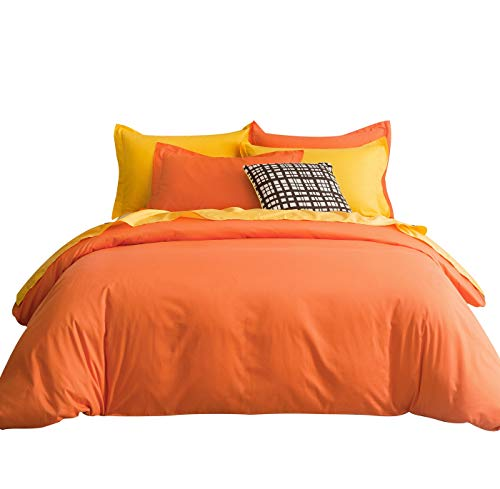 (SUSYBAO 3 Pieces Duvet Cover Set 100% Natural Cotton King Size 1 Duvet Cover 2 Pillow Shams Vibrant Orange Hotel Quality Ultra Soft Breathable Lightweight Fade Resistant Solid Bedding with Zipper Ties)