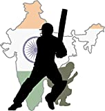 India Map Cricket Player Home Decal Vinyl Sticker 12'' X 13''