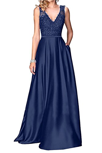 Little Star Long Navy Blue Prom Dresses 2018 for Women V Neck Satin Formal Evening Gowns A Line Bridesmaid Dress Party Ball Gown with Lace ()