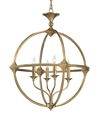 Currey and Company 9346 Bellario Orb - Four Light Chandelier, Antique Brass Finish