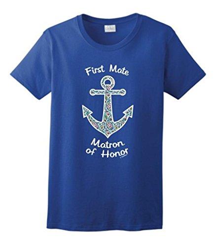 Nautical Anchor Paisley Matron Honor Bachelorette Ladies T-Shirt Large Royal