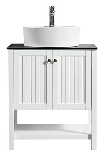 """Vinnova 756028-WH-BG-NM Modena 28"""" Vanity Glass Countertop with White Vessel Sink Without Mirror"""