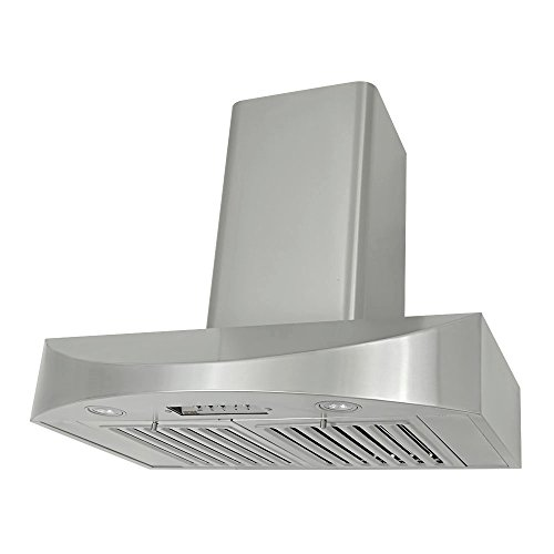 (KOBE CHX3836SQB-WM-2 Brillia 36-inch Wall Mount Range Hood, 3-Speed, 650 CFM, Fits Ceiling Height)