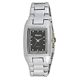 Salony Men's Black Dial Stainless Steel Band Watch - W1012B1