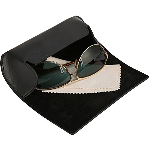 EyeSun Leather Large Eyeglasses Sunglasses Case with Free Cleaning Cloth(black,301-1MA-Big)